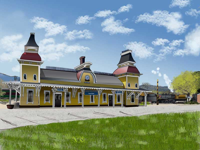 North Conway Station in Spring - Digital Coloring by Isaac C. Rader