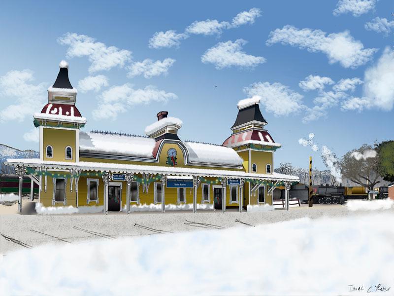 North Conway Station at Christmas - Digital Coloring by Isaac C. Rader
