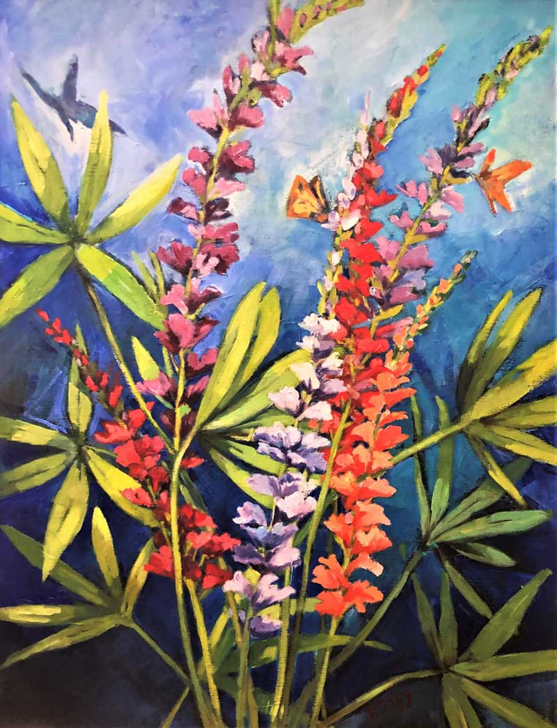 Lupine and Butterflies by Phyllis Tracy